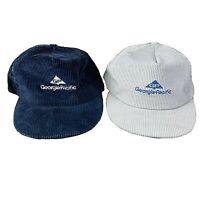Vintage 80s Georgia Pacific Corduroy Snapback Hats Lot of 2 Blue And Gray USA