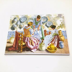 Lovely Terracotta Wall Hanging Tile Feat. Spanish Ladies Selling Pottery Scene