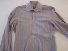 KITON NAPOLI Blue & Burgundy Stripe Handmade Dress Shirt Italy 16 EU 41 AMAZING