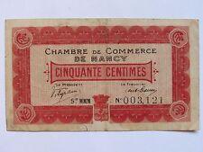 04D15 ANCIEN BILLET CHAMBRE DE COMMERCE DE NANCY - 50 CENTIMES AU 01/01/1916