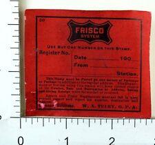 1900 Frisco Systems Registered Envelope Railroad Poster Stamp F63