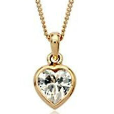 """Delicate rose gold finish clear heart pendant 18"""" necklace quality jewellery UK"""