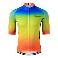 Cycling Jersey Bike Short Sleeve Top Shirt Clothing Bicycle Yellow Blue S-3XL