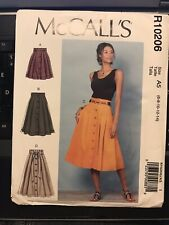 McCall's pattern R10206 Misses' Full Pleated Skirts  size 6, 8, 10 ,12 ,14 uncut