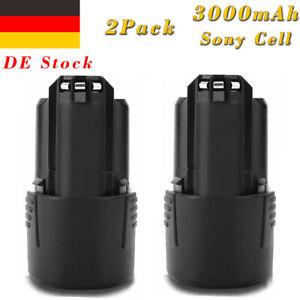 2x 10.8V/12V 3000mAh Lithium Akku für Bosch GSR GDR GSA GSB GWB GMF 10.8 V-LI