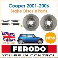 For BMW Mini One Cooper 2001-2006 FERODO Two Rear Brake Discs & Brake Pads Set