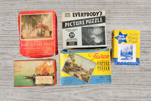 Lot of 5 amazing Vintage Picture Puzzles Fairco, Big Star, Hart and more.  #A79