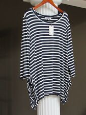 GREEN ENVELOPE Los Angles Navy Blue Off- White Stripe Top Shirt Size 1X NWT