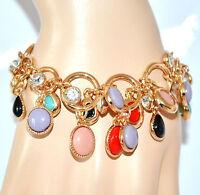 BRACCIALE donna oro ciondoli strass anelli pulsera bracelet браслет armband 手镯64