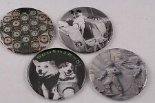 "Soviet Space Laika Belka Strelka Lot 4 Pocket Mirror 3"" Dogs USSR Made in USA"