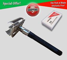 4FIT LONG HANDLE STAINLESS STEEL SAFETY RAZOR BLACK FOR MANUAL SHAVING