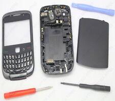 Negro Completo Carcasa Funda Para Blackberry Curve 9300 Fascia Frontal Nuevo Hq