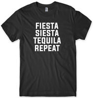 Fiesta Siesta Tequila Repeat Mens Funny Unisex T-Shirt