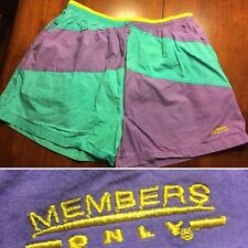 Vtg Members Only Mens Shorts Swimming Trunks Size Xl Green Purple Yellow