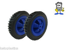 PAIR OF BLUE FISHING TROLLY / SACK TRUCK WHEELS 146MM WIDE - 12MM BORE HOLE