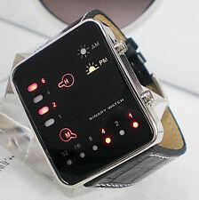 Luxus Damen Digital LED Sportlich Armbanduhren Binär Kunstleder Herren Uhr 2016