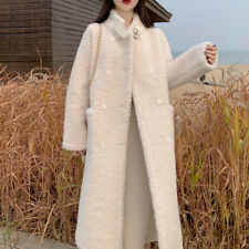 Women Trench Coat Double-Breasted Long Outwear Faux Cashmere Loose Casual Jacket