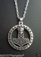 Viking Wolf Head Thor's Hammer Rune circle,Pewter Pendant, Norse,Thor,Odin  c4