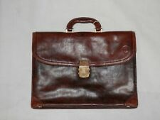 "Vintage Brown Leather Briefcase Metal Combination Lock ""PRINCIPE"""