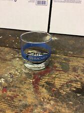Bacardi Rum Rocks Glass Football Clear Blue Stripe Seal FREE SHIP