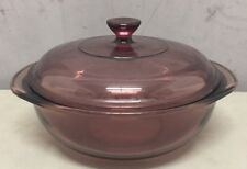 PYREX 1.5L Cranberry Vision Ware Pot w/ Lid Dutch Oven Or Microwave