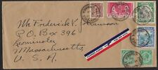 JAMAICA 1936 MULTICOLOR FRANKING AIR MAIL TO US W/5 NEAT HALF WAY TREE DATED CAN