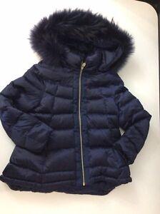 Treapi Navy Blue Down Jacket Size XS Age 8-9 Years Vgc Fur Hood Trim