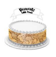 vintage, world map, edible image, cake wrap, cake strip,cake image, map, cake