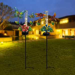 ALLADINBOX 2 Set 31.5inch Solar Powered Metal Rain Gauge Butterfly and Dragonfly