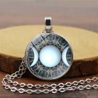 Vintage Triple Moon Cabochon Tibetan Silver Glass Chain Pendant Necklace Jewelry
