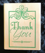 "Rubber Stamp ""Thank You"" w/ Border & Ribbon Bow Image ~2"" x 2-3/4"" Paper Crafts"