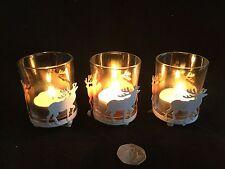 3 x White Reindeer Metal Glass Tea Light Candle Holders Christmas Vintage