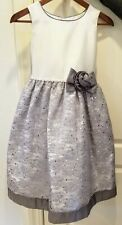 JAYNE COPELAND Gray/Silver/White Floral Lace Formal Dress, Girls Size 12