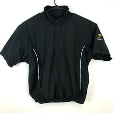 FootJoy DryJoys Mens XL Wind Rain Golf 1/4 Zip Jacket Pullover Black Logo Patch