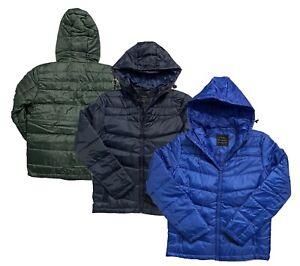 Men's Hooded Puffer Jacket Padded Puffer Light Weight Coat Winter Warm Brand New