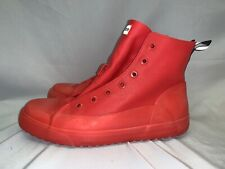 Hunter Logo Red Waterproof Lace Up Fashion Ankle Boots Women's 10