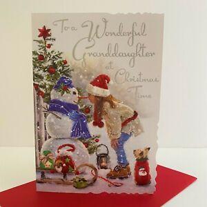 Jonny Javelin Wonderful Granddaughter Christmas Time Card Girl Snowman/XV015