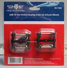 MTH 35-1102 AAR 70-ton Friction Bearing Truck Set W/ Scale Wheels S Gauge