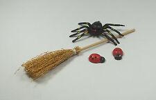 balai,araignée et coccinelles miniature,maison de poupée,vitrine,jardin S11