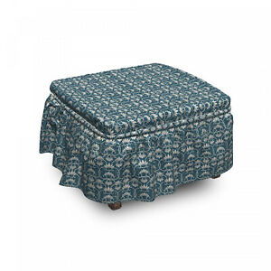 Ambesonne Vintage Scene Ottoman Cover 2 Piece Slipcover Set and Ruffle Skirt