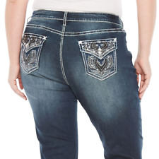Boutique Plus Womens Jeans 18W Tall Stretch Wing Embellished Bling NEW $69.00