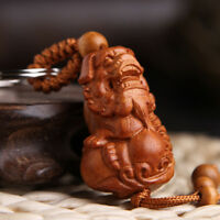 Wood Carving Chinese Feng Shui Geomancy Lion Foo Dog Statue Key Chain Ring Hi-Q