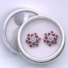 Beautiful New 18K White Gold Plated Ruby & Crystal CZ 16mm Round Stud Earrings
