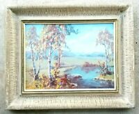LS MUIR - Vintage Antique Early 1900's Original Oil on Board Painting Landscape