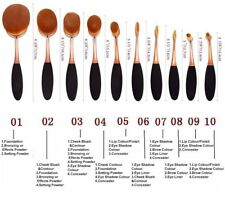 Belsion Profesional Oval Makeup Toothbrush Foundation Tool Set 10pcs Gold+Black