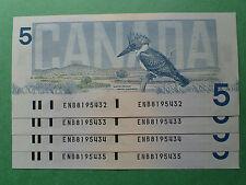 1986,   5 Dollars, Crow-Bouey,  4 consecutives,ENB..432,3,4,5  BC-56a, Canada