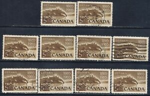 Canada #442(2) 1965 5 cent OTTAWA NATIONAL CAPITAL CENTENARY 10 Used