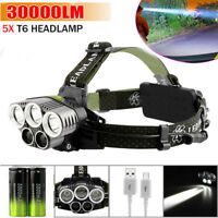 New 20000LM 5x XM-L CREE T6 LED Rechargeable Head Torch Headlamp Lamp Light ARU