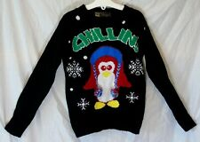 Boys Image Black Chillin! Festive 3D Penguin Novelty Xmas Jumper Age 5-6 Years