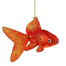 "GOLDFISH GLASS CHRISTMAS ORNAMENT 5"" Kurt Adler Noble Gems Orange Gold Fish Tree"